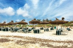 Empty Es Trenc beach beacuse of windy weather in Mallorca. Spain Stock Images