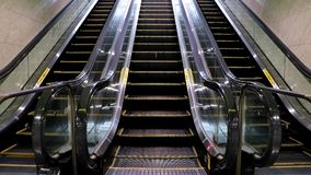 Empty escalator. From the metro station. Exit of the subway on the moving stairs stock video