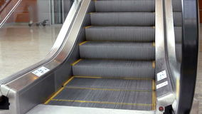 Empty escalator stairs moving up. In modern office building stock video footage