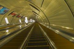 Empty escalator at the subway station. Empty escalator at the station of the Moscow metro Stock Images