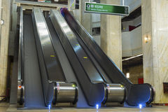 Empty escalators in subway station Royalty Free Stock Photos
