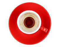 Empty espresso coffee in red cup isolated on white Stock Photo