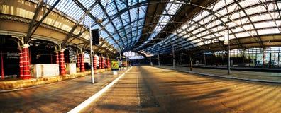 An empty european train station Stock Photo
