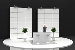 Empty exhibition booth, copy space illustration. 3d rendering Royalty Free Stock Photography