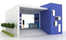 Empty exhibition booth, copy space illustration. 3d rendering Stock Photo