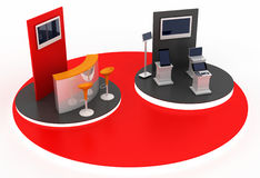 Empty exhibition booth, copy space illustration. 3d rendering vector illustration