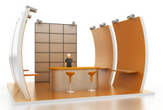Empty exhibition booth, copy space illustration. 3d rendering stock illustration