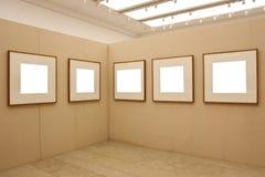 Empty exhibition frames stock photo
