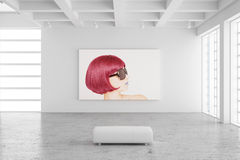Empty exhibition hall with picture. Of a woman and concrete floor vector illustration