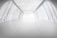 Empty exhibition large hall. Vector illustration. Empty exhibition center. Long hall, wide open space. Vector illustration Stock Photos