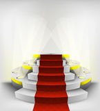 Empty exhibition space on round illuminated podium vector Stock Photo