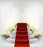 Empty exhibition space on round illuminated podium vector. Illustration Stock Photo