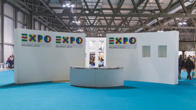 Empty Expo stand at Bit 2015, international tourism exchange in Milan, Italy Royalty Free Stock Photo