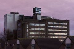 Empty factory building at sundown Royalty Free Stock Image