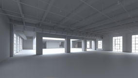 Empty factory interior Black and White. 3d render, 3d illustrati Royalty Free Stock Images