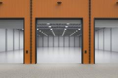 Empty factory interior. 3d rendering interior empty factory with open shutter door stock image