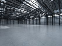 Empty factory interior. 3d rendering empty factory interior with pendant lamps stock image