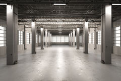 Empty factory interior. 3d rendering empty factory interior or empty warehouse Royalty Free Stock Photo