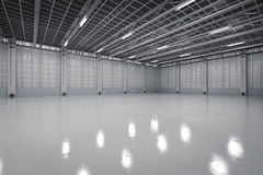 Empty factory interior. 3d rendering empty factory interior or empty warehouse Royalty Free Stock Images