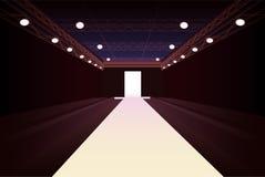 Empty fashion model podium with lights stock illustration