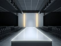 Empty fashion runway podium stage. 3d illustration stock illustration