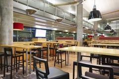Empty fast food airport railway restaurant bar indoor. Horizontal stock images