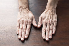 Empty female hands turned on their back side Stock Images