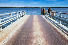 Empty ferry terminal, metal ramp road Royalty Free Stock Photography