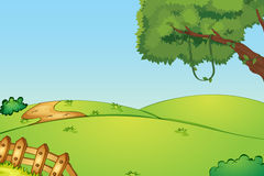 Empty field. Illustration of a field and a fence Royalty Free Stock Photo