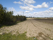 Empty field. Autumn time. Blue sky and white clouds Royalty Free Stock Photos