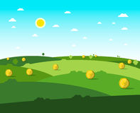 Empty Field. Vector Flat Design Meadow. Sunny Day with Blue Sky Stock Image