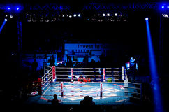 Empty fighting ring at Superkombat World Grand Prix. GALATI, ROMANIA - DECEMBER 21: Empty fighting ring at Superkombat World Grand Prix finals, on December 21 royalty free stock images