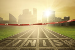 Empty finish line with numbers 2016 stock photography
