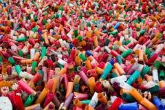 Empty fired shotgun shells. Field of spent shotgun cartridges Stock Images