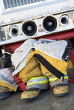 Empty firefighter's boots and uniform Royalty Free Stock Photos