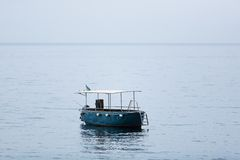 Empty fishing boat. With gear on high seas Stock Photos