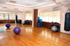 Empty fitness gym. With some training equipment Royalty Free Stock Photography