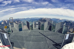 Empty Five Fingers viewing platform in Alps, Dachstein. Fisheye lens view. Stock Image