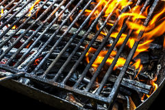 Empty Flaming Charcoal Grill With Flames Of Fire close up royalty free stock photo