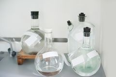 Empty flasks. Laboratory analysis equipment. Chemical laboratory, glassware test-tubes. royalty free stock image