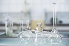 Empty flasks. Laboratory analysis equipment. Chemical laboratory, glassware test-tubes. stock photos