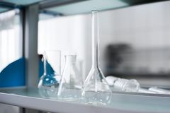Empty flasks. Laboratory analysis equipment. Chemical laboratory, glassware test-tubes. stock images