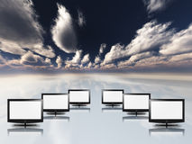 Empty flat panels in white with sky Royalty Free Stock Photography