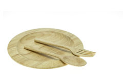 Empty flat wooden dish, fork and spoon isolated on white backgro Stock Image