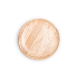 Empty flat wooden dish isolated on white background Royalty Free Stock Photos