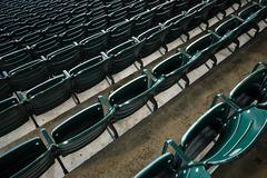 Empty flip-fold chairs. At baseball stadium Royalty Free Stock Image