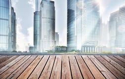 Empty floor and modern city. Skyline Royalty Free Stock Photo