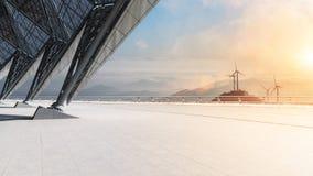 Empty floor with wind farm Stock Image