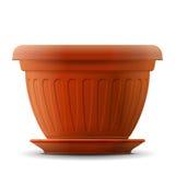 Empty flower pot with saucer Stock Photos