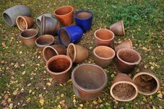 Empty Flower Pots In Autumn Royalty Free Stock Images